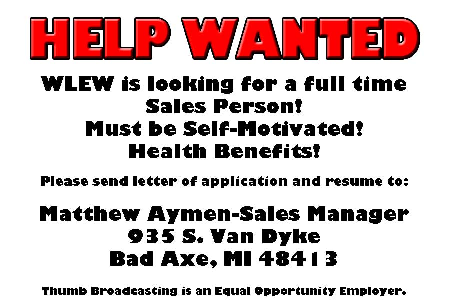 Sales Person Wanted